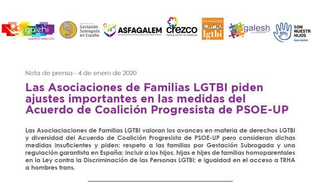 Las Asociaciones de Familias LGTBI piden ajustes en las medidas del Acuerdo de PSOE-UP