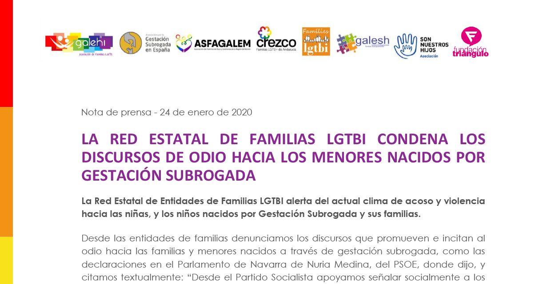 La Red Estatal de Familias LGTBI condena los discursos de odio hacia los menores nacidos por Gestación Subrogada